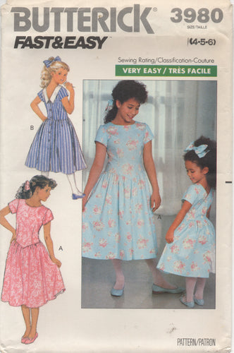 1980's Butterick Child's One Piece Dress drop pointed waist  - Size 4-5-6 - No. 3980