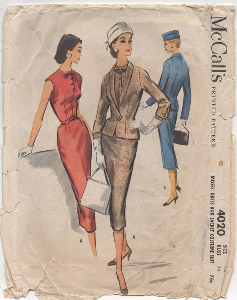 1950's McCall's One Piece Slim Fit Dress and Jacket with Self Collar - Bust 34