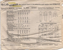 "1950's McCall's One Piece Slim Fit Dress and Jacket with Self Collar - Bust 34"" - No 4020"
