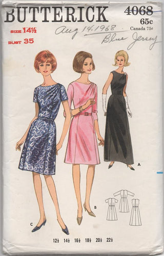 1960's Butterick One Piece Dress with Gathered Left shoulder in two lengths- Bust 35