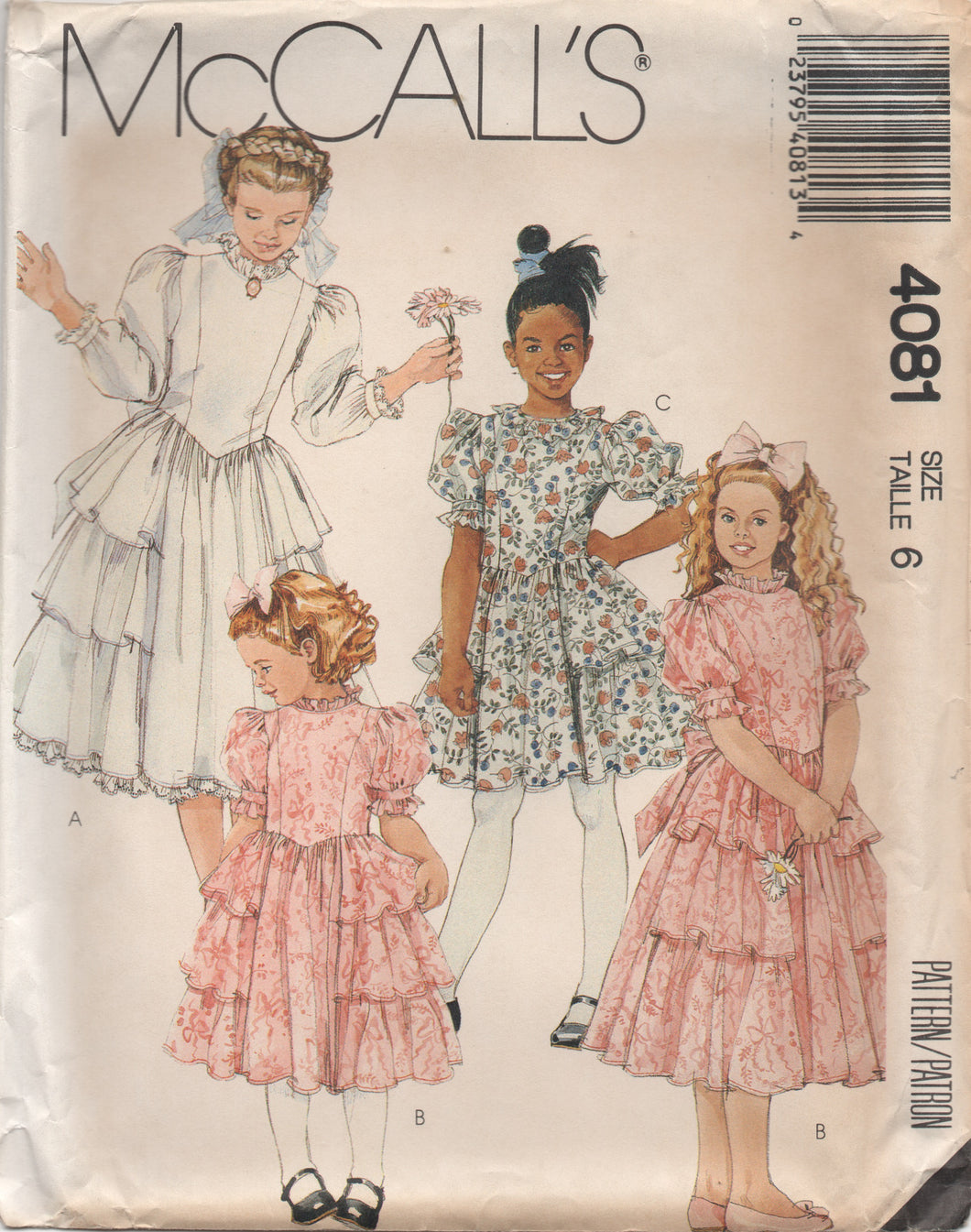 1980's McCall's Child's One Piece drop waist Dress with Ruffles - Size 6 - No. 4081
