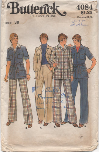 1970's Butterick Men's Jacket with 4 pockets and Straight Leg Pants - Chest 38