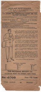"1910's Pictorial Men's Pajamas with Mandarin Collar - Chest 40"" - No. 4098"