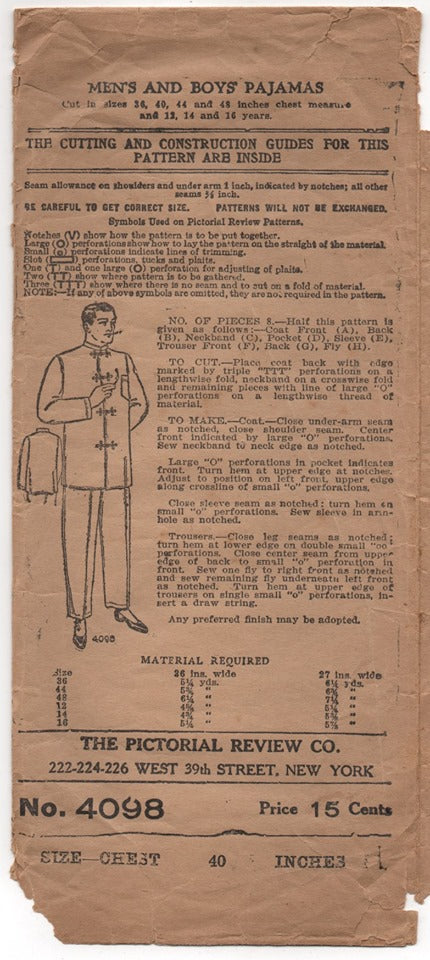 1910's Pictorial Men's Pajamas with Mandarin Collar - Chest 40