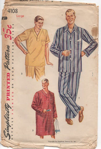 1950's Simplicity Men's Pajama's or Night Shirt - Chest 42-44