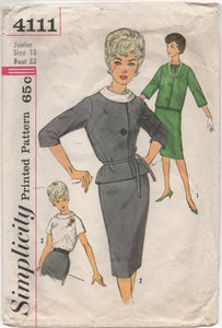 "1960's Simplicity Suit Dress with Rolled Collar - Bust 33"" - No. 4111"