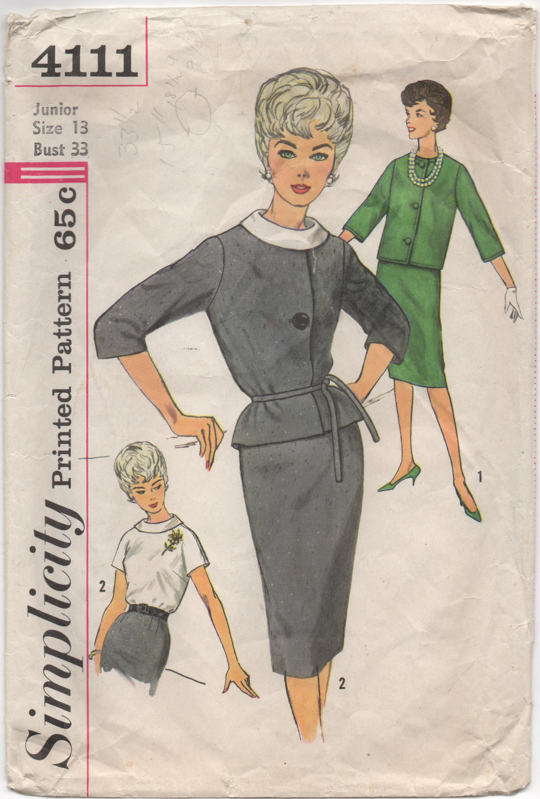 1960's Simplicity Suit Dress with Rolled Collar - Bust 33