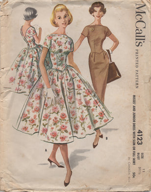 1950's McCall's One Piece Drop Waist Dress with Deep V Back and Two Skirts - Bust 31.5