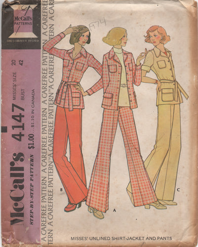 1970's McCall's Unlined Jacket with Pockets and Wide Leg Pants - Bust 42