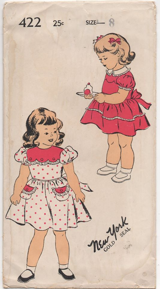 1940's New York Child's One Piece Dress with Scallop Yoke and Back Ties - Chest 26