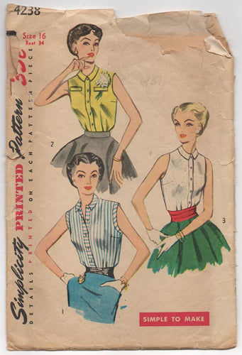 1950's Simplicity Sleeveless Button-Up Blouse - Bust 34