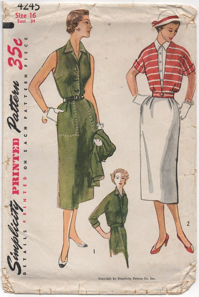 1950's Simplicity One Piece Slim-fit Dress and Collarless Jacket - Bust 34