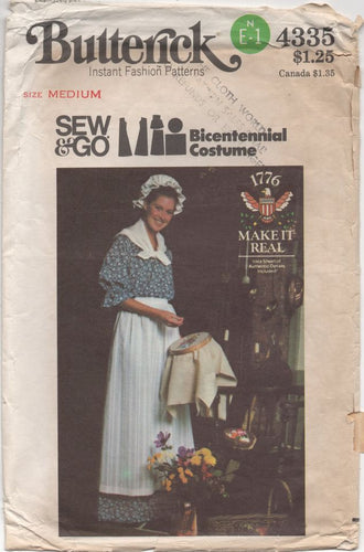 1970's Butterick Centennial Dress with Mop Cap, Scarf and Apron - Bust 34-36