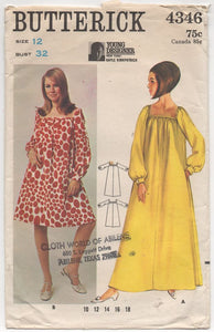 "1960's Butterick One Piece Midi or Maxi Dress with Square Neckline - Bust 32"" - No. 4346"