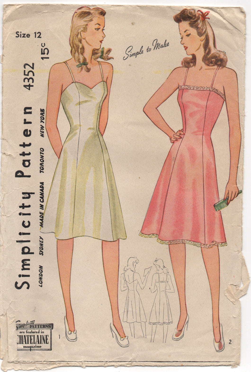1940's Simplicity Slip In Two Styles - Bust 30