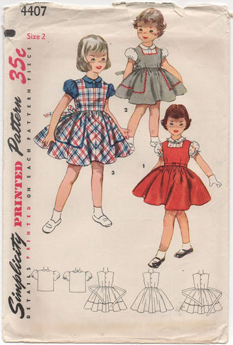 1950's Simplicity Child's Dress and Blouse with Puff Sleeves - Chest 21