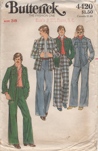 1970's Butterick Men's Jacket with Chest pockets and Straight Leg Pants - Chest 38