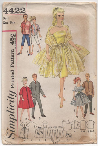 1960's Simplicity Barbie and Ken Doll Outfits - UNCUT - No. 4422