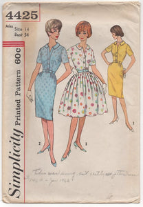 "1960's Simplicity One Piece Dress with Pleated or Straight Skirt - Bust 34"" - No. 4425"