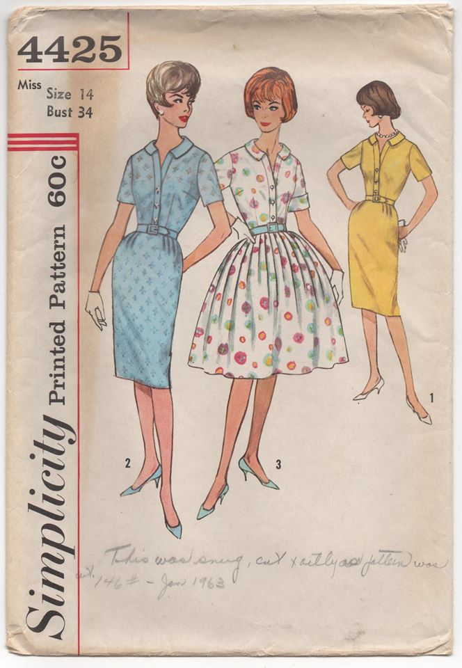 1960's Simplicity One Piece Dress with Pleated or Straight Skirt - Bust 34