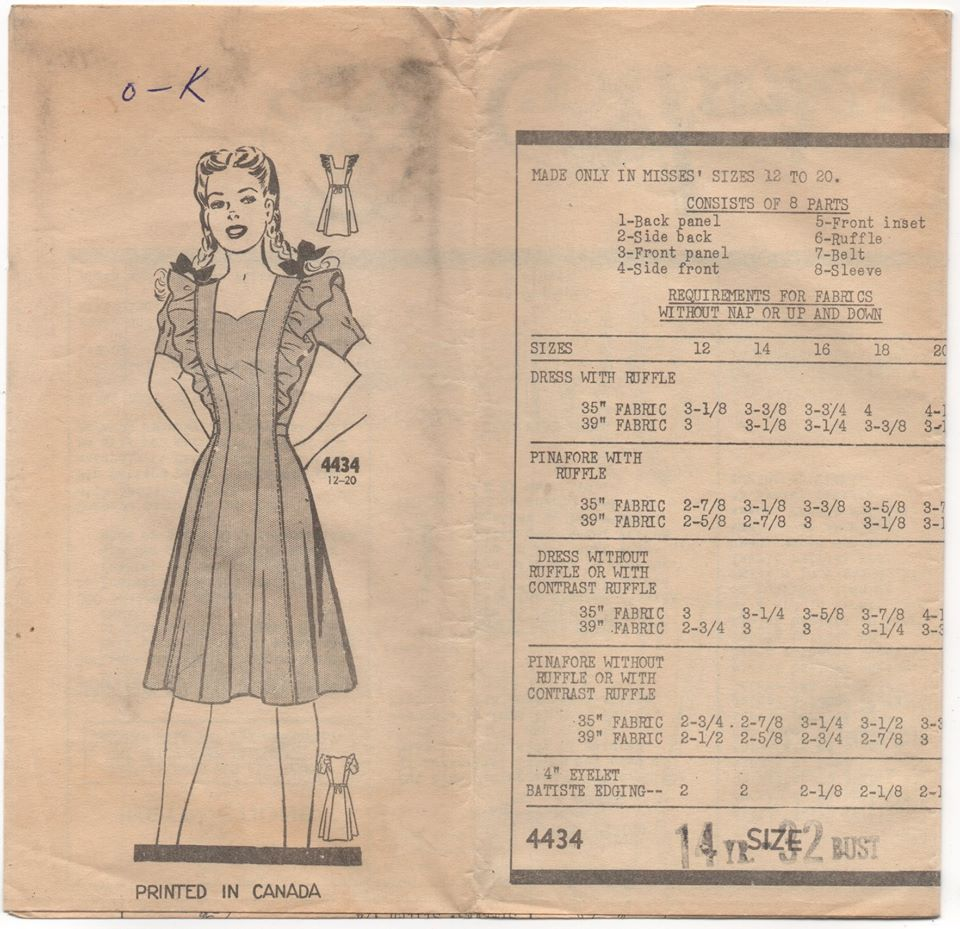 1940's Anne Adams Pinafore Dress with or without sleeves Pattern - Bust 32