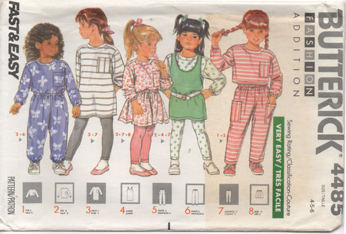 1980's Butterick Child's One Piece Top, Dress, Jumper, Pants, Leggings and Shorts - Size 4-5-6 - No. 4485