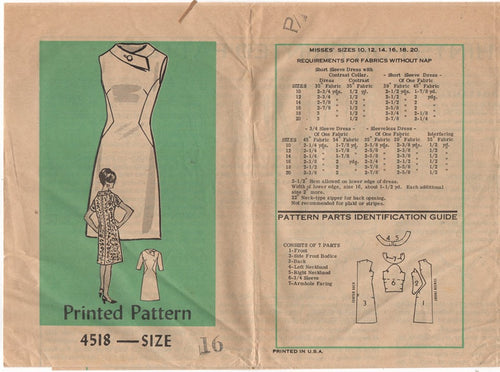 1960's Mail Order One Piece Dress with contrast sides - Bust 36