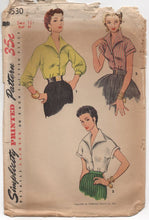 "1950's Simplicity Blouse with Wide Collar and Short or 3/4 Sleeves - Bust 34"" - No. 4530"