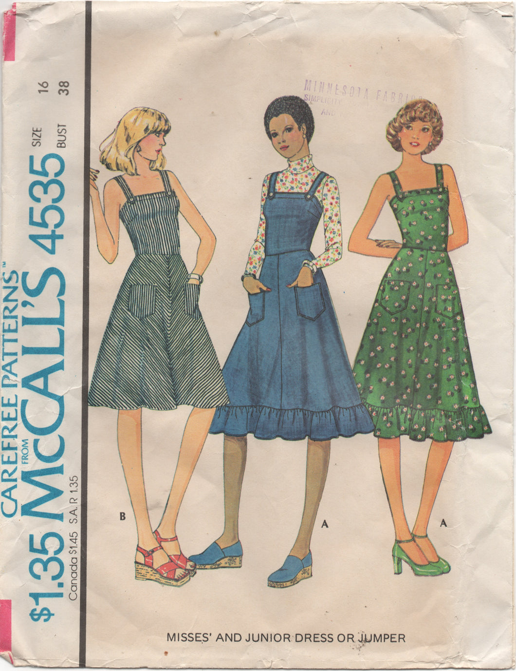 1970's McCall's One Piece Dress or Jumper with pockets Pattern - Bust 38