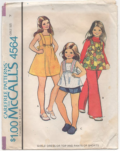1970's McCall's Girl's One Piece Dress, Shorts, Pants, and Top Pattern - Bust 26