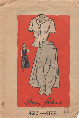 1950's Anne Adams Blouse with tucked shoulder and Skirt with Pockets - Bust 36 - No. 4610