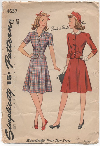 1940's Simplicity Two Piece Dress with Short sleeve jacket and six gore skirt - Bust 30