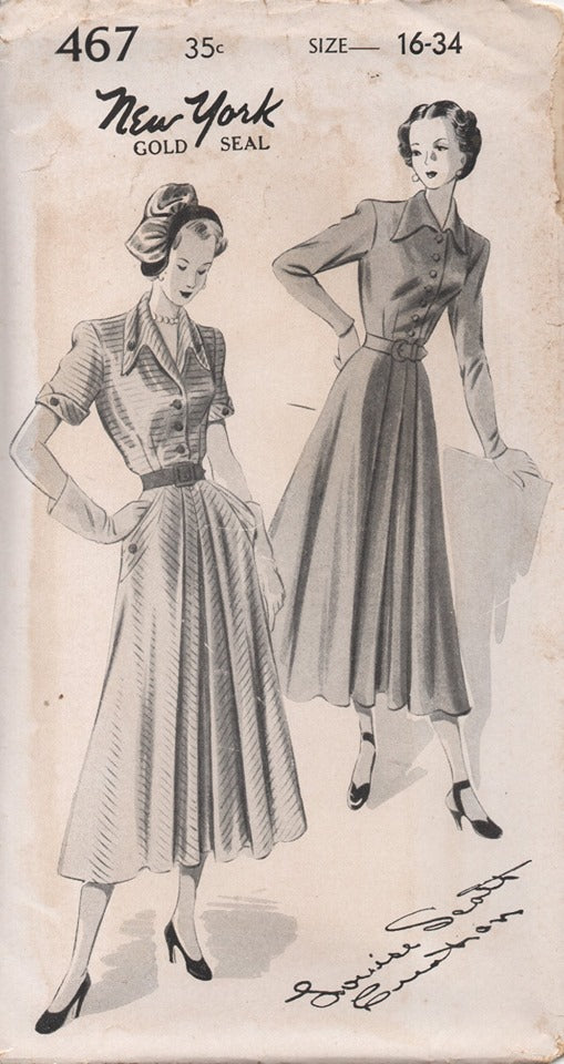 1950's New York by Louise Scott Shirt Waist Dress with Full Front, Pocket and Draped Collar - Bust 34