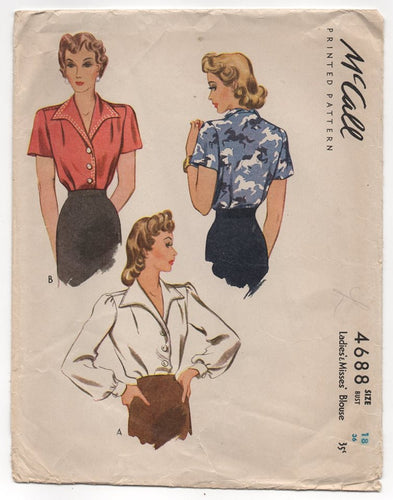 1940's McCall Button up Blouse with Pointed Collar - Bust 36