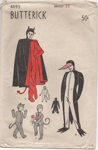 1950's Butterick Men's Devil, Penguin, Monkey or Kitten Costume - Breast 38