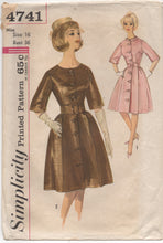 "1960's Simplicity One Piece Fit and Flare Dress with Wide Self Belt Pattern - Bust 36"" - No. 4741"