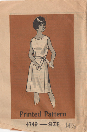 1960's Anne Adams One Piece Dress with Belt pattern - Bust 35