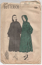 "1940's Butterick Hooded Coat Pattern - Breast 28"" - No. 4753"