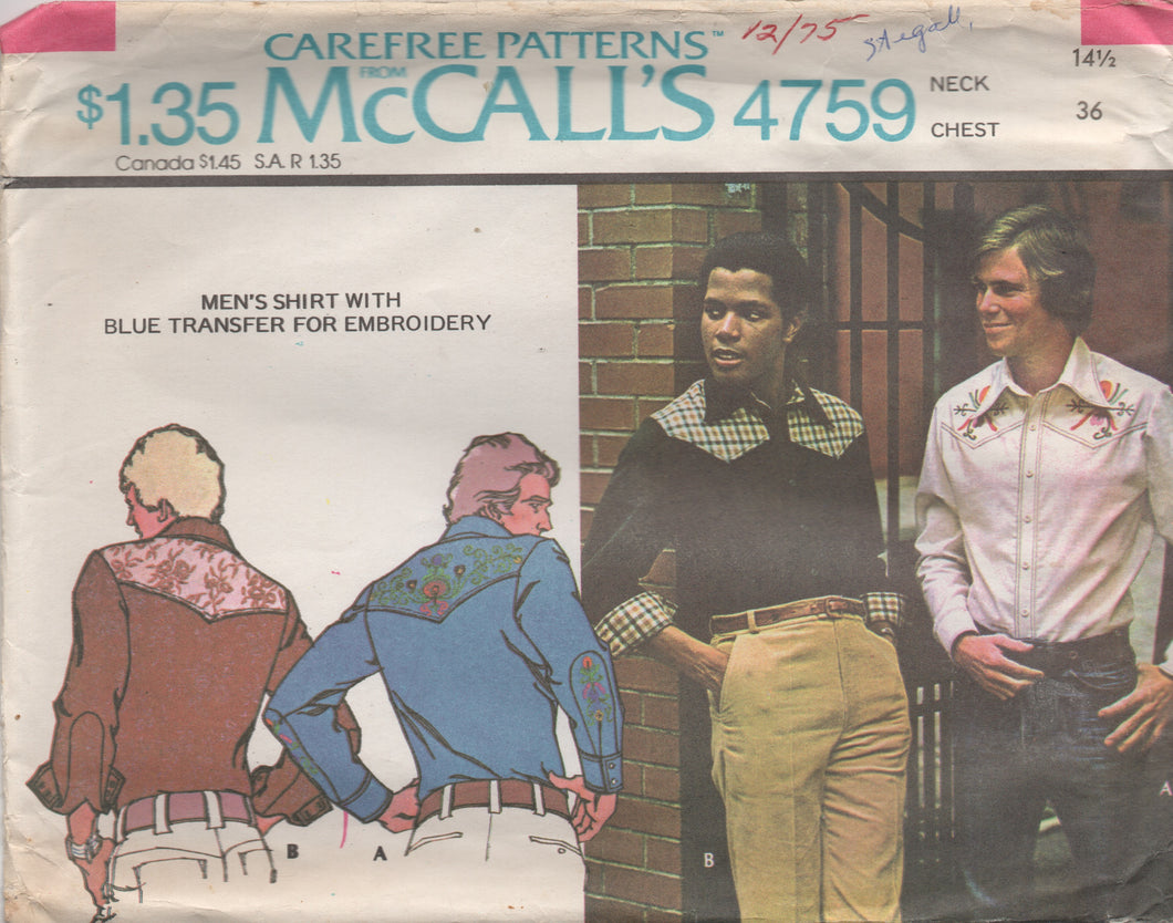 1970's McCall's Men's Western Yoked Shirt- Chest 36