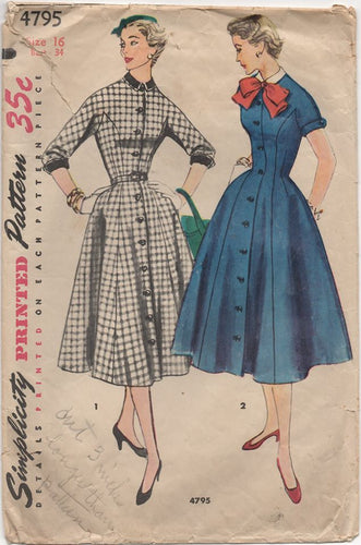 1950's Simplicity One Piece Dress with One Piece Sleeve, Yoke and Front and Bow - Bust 34