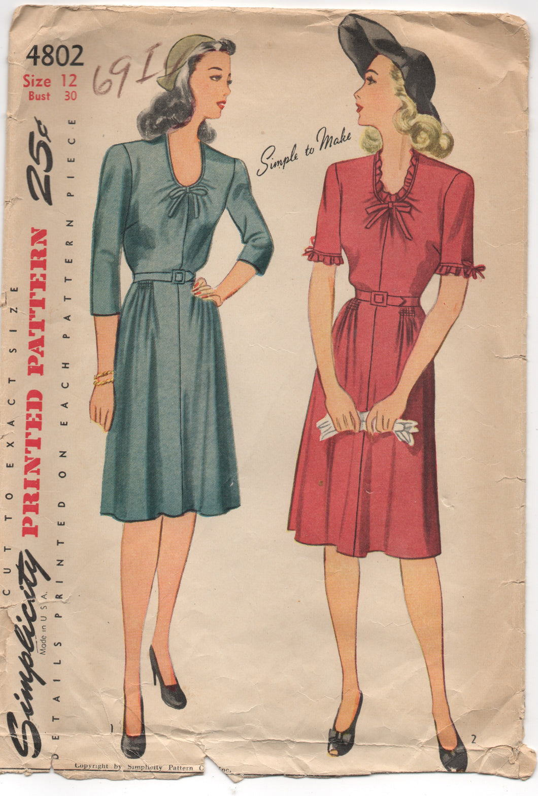 1940's Simplicity One Piece Day Dress with Scoop Neckline - Bust 30