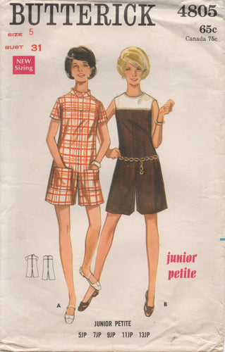 1960's Butterick Romper with Mandarin Collar and Patch Pockets - Bust 31