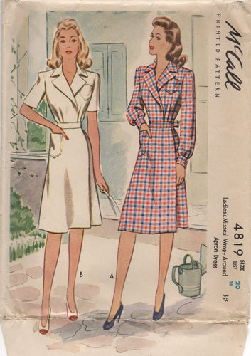 1940's McCall Wrap Around Apron Dress with pockets - Bust 38