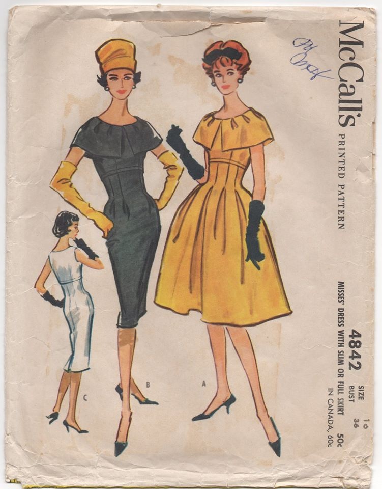 1950's McCall's One Piece Dress with Large Collar and Two Skirt options - Bust 36