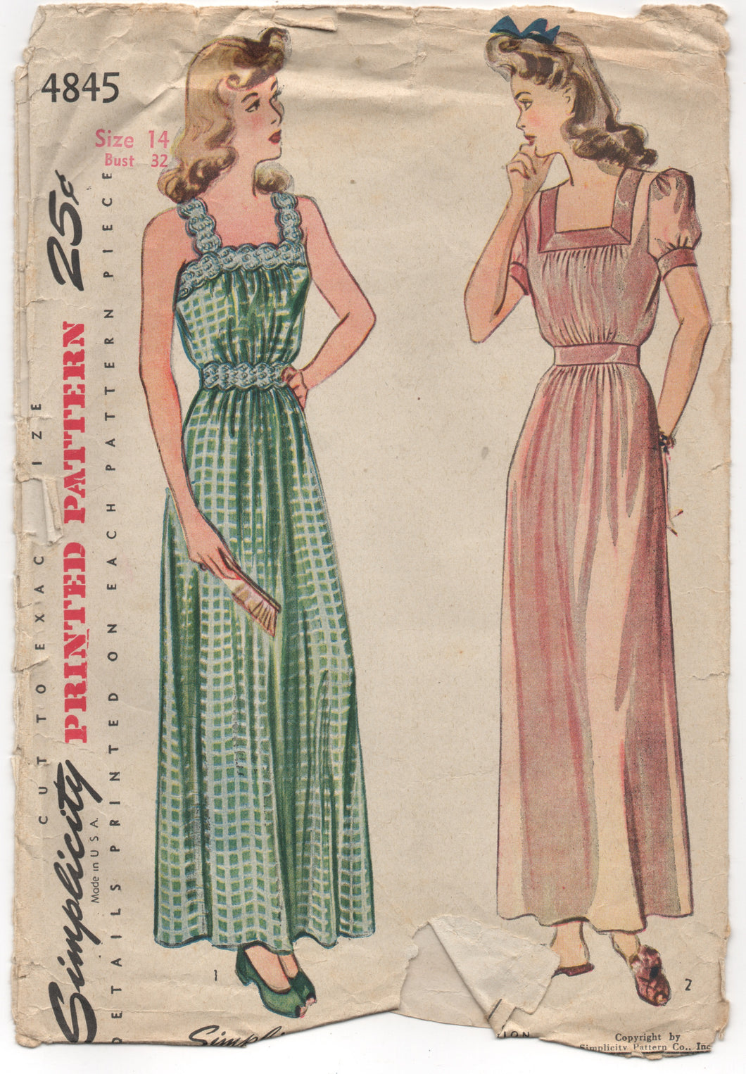 1940's Simplicity Long Nightgown with short sleeves or straps - Bust 32