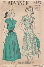 "1940's Advance One Piece Shirtwaist Dress with large pockets - Bust 33"" - No. 4873"