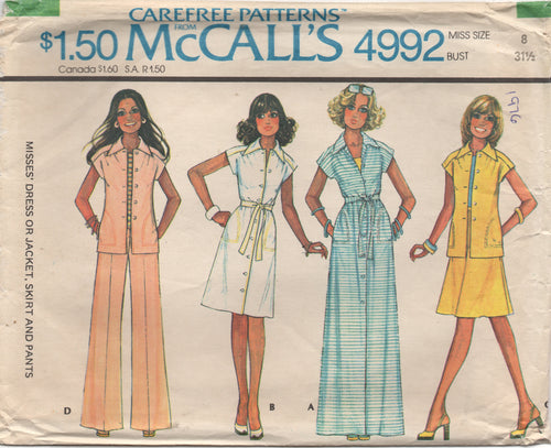 1970's McCall's Maxi or Midi Button Up Dress and Wide Leg pants - Bust 31.5
