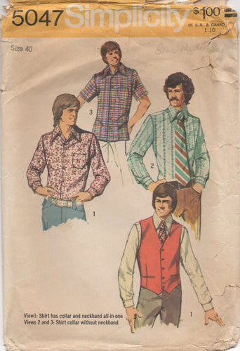 1970's Simplicity Men's Button up Shirt and Vest - Chest 40