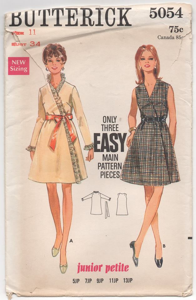 "UC/FF - 1960's Butterick Wrap A-Line Dress (Junior Petite) - Bust 34"" - No. 5054"