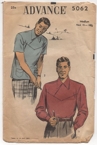 1950's Advance Men's Cross Yoke Shirt with pockets - Chest 38-40